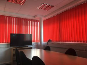 Red 89mm vertical blinds