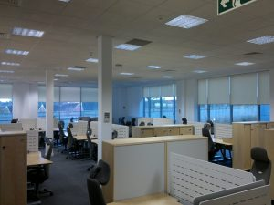 Anti glare office roller blinds