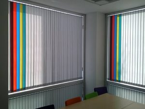 Multi coloured vertical office blinds