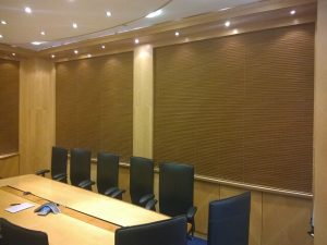 Electric venetian blinds in a boardroom