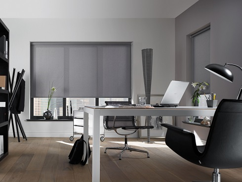 Grey Plain Commercial Roller Blinds