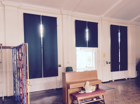 school hall blackout roller blinds