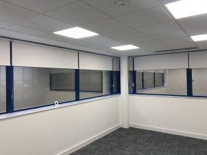 corner office roller blinds